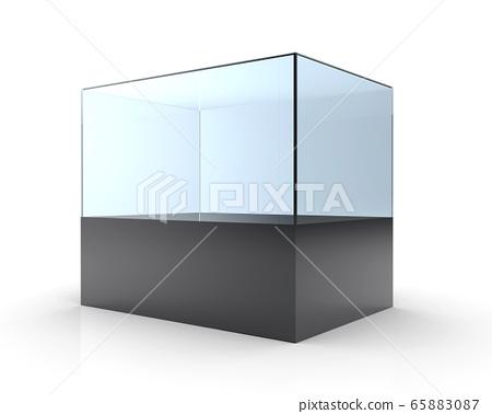 3D illustration of empty glass showcase 65883087
