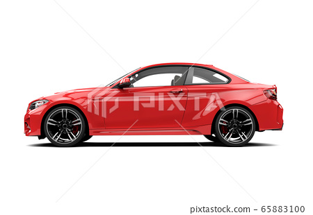 Lateral red sport car isolated on a white 65883100