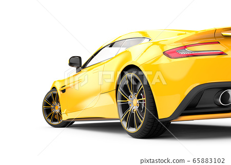 Back of a yellow luxury car isolated on a white 65883102