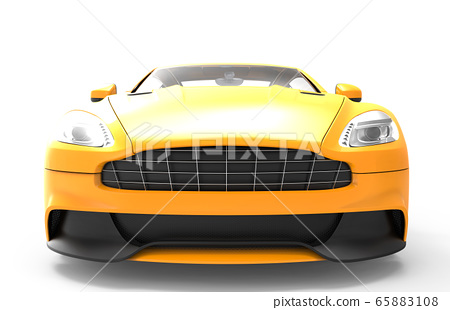 Front of a  yellow sport car isolated on a white 65883108