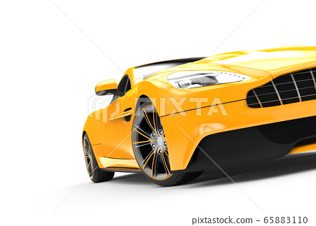 Yellow sport car isolated on a white background 65883110