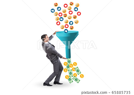 Social network monetization concept with businessman 65885735