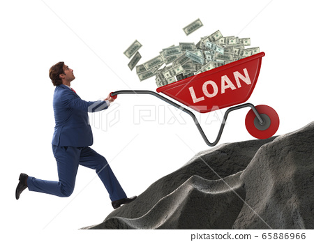 Businessman pushing wheelbarrow uphill in debt loan concept 65886966