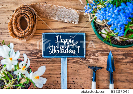 Spring Flowers, Sign, Calligraphy Happy Birthday 65887043