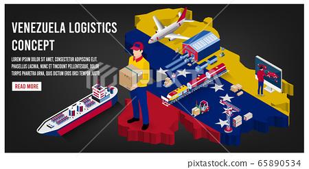 Modern isometric concept of Venezuela Global Logistics, Warehouse Logistics, Sea Freight Logistics.  Easy to edit and customize. Vector illustration 65890534