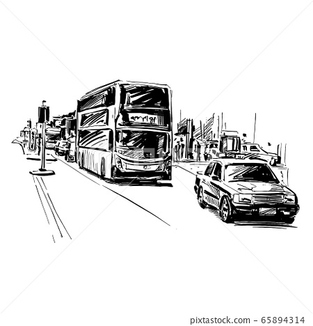 Drawing of traffic in Hong Kong  65894314