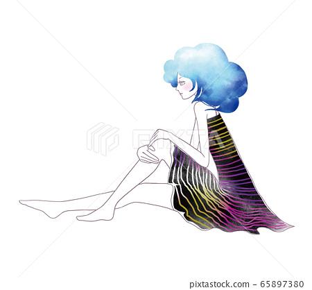 앉아있는 여성의 일러스트 65897380