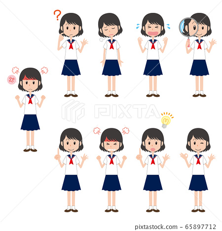 Female student, high school girl, junior high school girl, sailor suit, facial expression, pose set, whole body 65897712