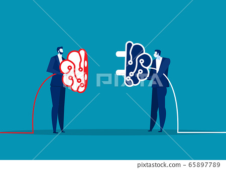 two business connect plug brain for share idea. Concept business vector illustration. 65897789