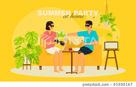Summer party at home, male and female sitting on 65898167