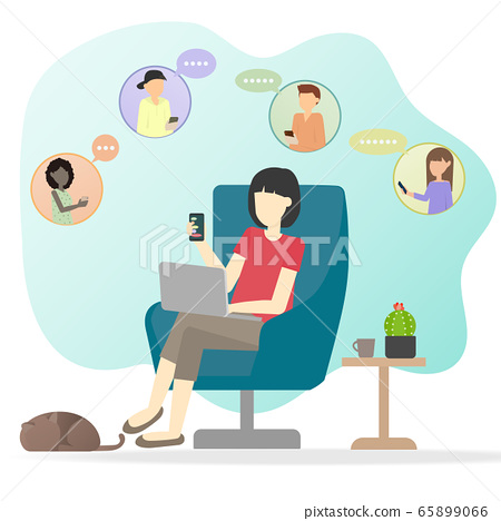 The Woman sit alone using laptop and mobile phone. 65899066