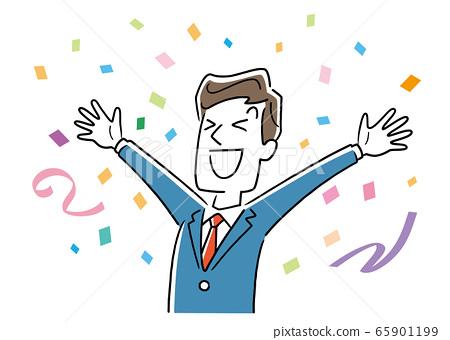 圖庫插圖:商人,男人與五彩紙屑歡喜 65901199