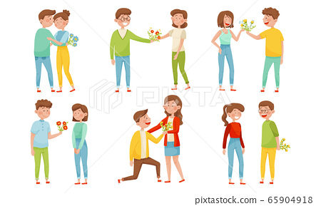 Young Man Giving Flowers Bouquet to Woman Vector Illustrations Set 65904918
