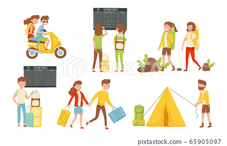 People Travelers Hiking with Backpacks and Waiting for Their Flight in the Airport Vector Illustrations Set 65905097
