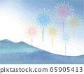 烟花和山脉的矢量图 65905413
