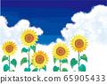 矢量图的夏天花向日葵蓝天 65905433