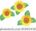 三朵向日葵花的矢量图 65905438