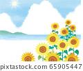 夏天的大海和向日葵矢量背景图 65905447