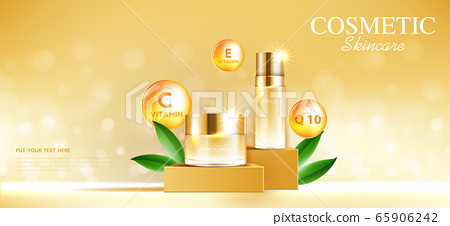 Hydrating facial cream for annual sale or festival sale. orange and gold cream mask bottle isolated on glitter particles background for product presentation. Graceful cosmetic ads, Vector illustration 65906242
