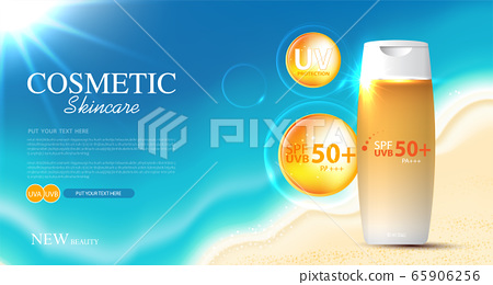 Hydrating facial sunscreen for annual sale or festival sale. orange cream mask bottle isolated on glitter particles background for product presentation. Graceful cosmetic ads, Vector illustration 65906256