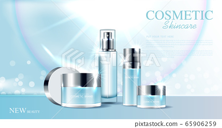 Hydrating facial skincare set for annual sale or festival sale. silver cream mask bottle isolated on glitter particles background for product presentation. Graceful cosmetic ads, Vector illustration 65906259