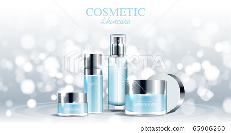 Hydrating facial skincare set for annual sale or festival sale. silver cream mask bottle isolated on glitter particles background for product presentation. Graceful cosmetic ads, Vector illustration 65906260