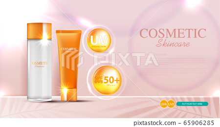 Hydrating facial sunscreen for annual sale or festival sale. orange cream mask bottle isolated on glitter particles background for product presentation. Graceful cosmetic ads, Vector illustration 65906285