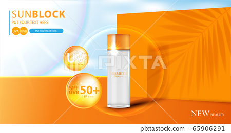 Hydrating facial sunscreen for annual sale or festival sale. orange cream mask bottle isolated on glitter particles background for product presentation. Graceful cosmetic ads, Vector illustration 65906291