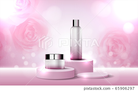 Hydrating facial rose cream for annual sale or festival sale. red silver cream mask bottle isolated on glitter particles background for product presentation. Graceful cosmetic ads, Vector illustration 65906297