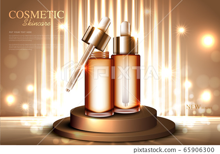 Hydrating facial skincar for annual sale or festival sale. silver gold serum mask bottle isolated on glitter particles background for product presentation. Graceful cosmetic ads, Vector illustration 65906300