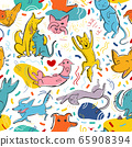 Seamless vector pattern with cute color cats and dogs in different poses and emotions, best friends 65908394