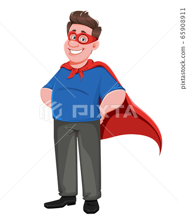 Father's day. Handsome dad in superhero costume 65908911