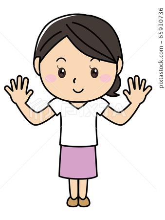 女孩01_01(微笑,舉手,同桿,全身,女性) 65910736