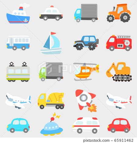 各種車輛的簡單可愛插圖集沒有主線 65911462