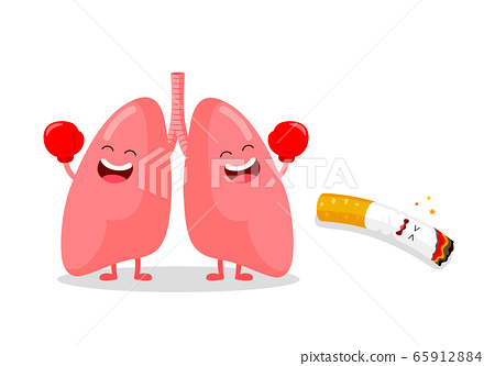 Cute cartoon lung punch cigarette. 65912884