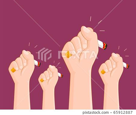 Human hands crushing cigarette. 65912887