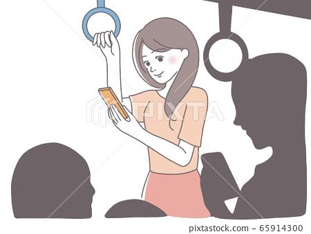 Commuter train, free time, smartphone smartphone female illustration 65914300