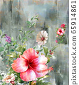 Abstract colorful flowers watercolor painting. Spring multicolored in .nature. 65914861