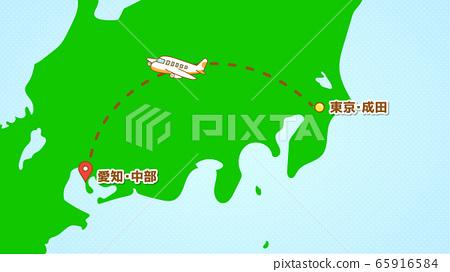 簡單飛機運動的插圖(來自中部的成田機場) 65916584