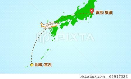 Illustration explaining simple airplane movement (from Miyako to Arata) 65917328