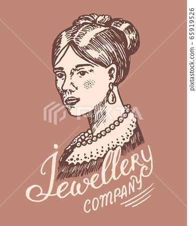 Victorian lady label. Women's jewelry shop badge. Luxury jewellery accessories, ladies fashion 65919526