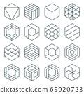 thin line hexagon symbol set 65920723