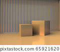 3D render presentation showcase. Light stage scene with two gold cubes in the room with cylinder wall. 65921620