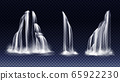 Set of waterfalls with cascade, splash and fog 65922230