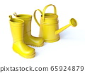 Yellow boots and watering can 3D 65924879