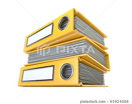 Yellow file folders 3D 65924886