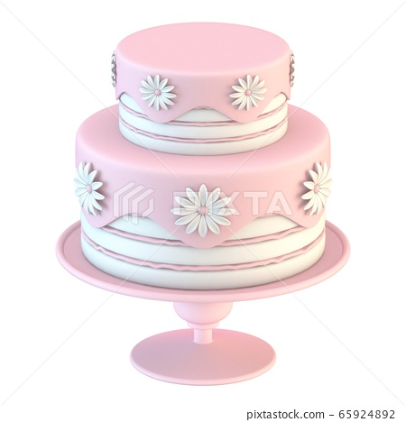 Pink white cake with flowers decoration 3D 65924892