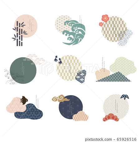 Set of geometric modern graphic elements vector. Asian icons with Japanese pattern. Abstract banners with flowing liquid shapes. Template for logo design, flyer or presentation.  65926516