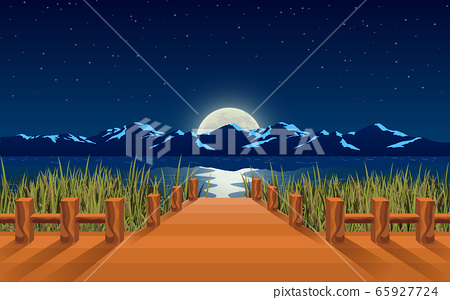 landscape of wooden bridge on the river in the moon night 65927724