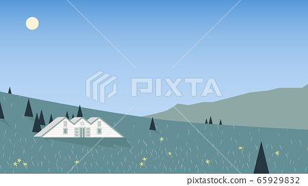 Small cottage located on mountain with scenic spring season 65929832